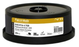25 DVD-R vierge 8x FTI Platinium Archival 4.7Go Smart White Printable Spindle - F0604